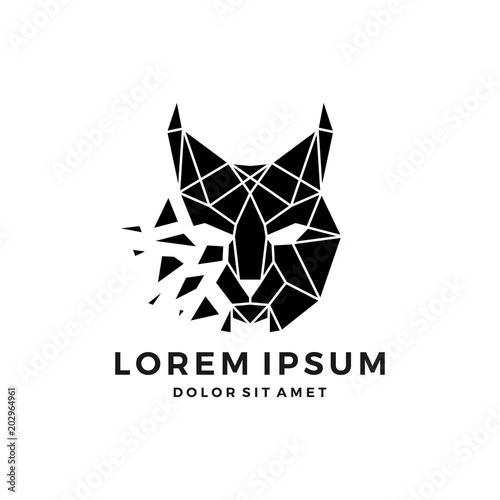 Obraz na płótnie geometric lynx head logo vector icon explode download
