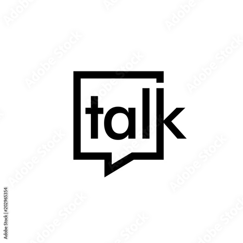 talk lettering letter mark on chat bubble icon logo vector sign Canvas Print