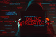 canvas print picture - Online predator concept with faceless hooded male person