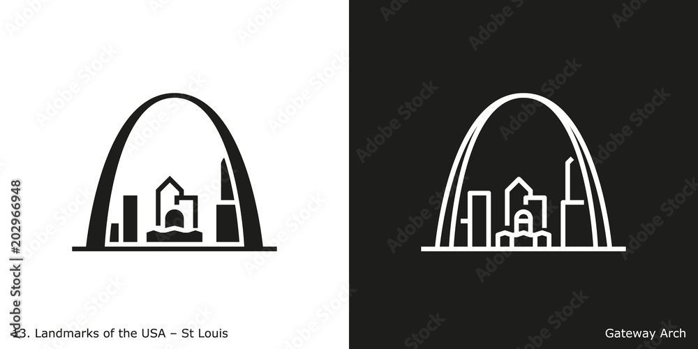 Fototapeta St Louis - Gateway Arch. Famous American landmark icon in line and glyph style.