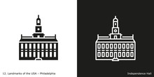 Philadelphia - Independence Hall. Famous American Landmark Icon In Line And Glyph Style.
