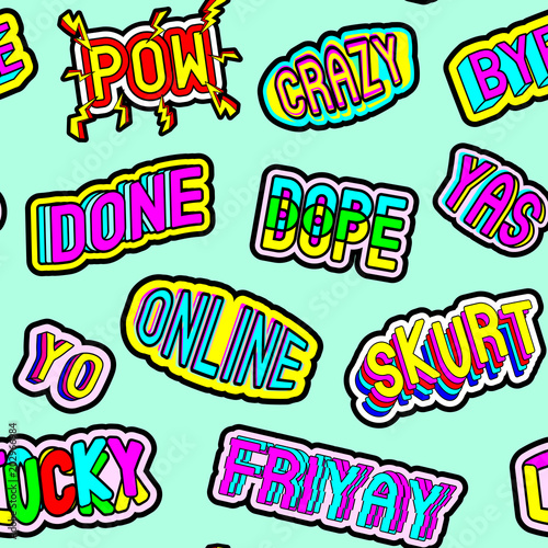Seamless pattern with patches with words