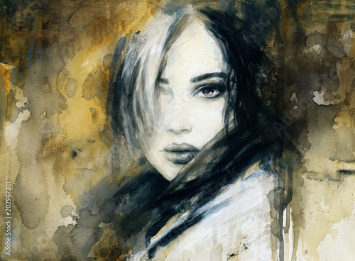 Tuinposter Aquarel Gezicht beautiful woman. fashion illustration. watercolor painting