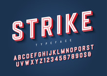 Strike Trendy Inline Sports Display Font Design, Alphabet, Typeface, Letters And Numbers, Typography.