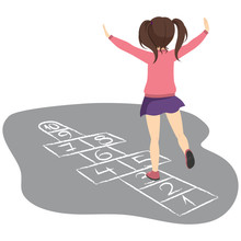 Active Young Girl Playing Hopscotch Having Fun Jumping