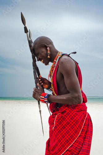 Portrait of a Maasai warrior, Diani Beach, Ukunda, Kenya Canvas