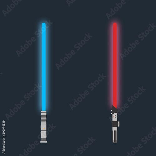 Lightsaber. Set of Futuristic laser weapon sci-fi light saber Wallpaper Mural