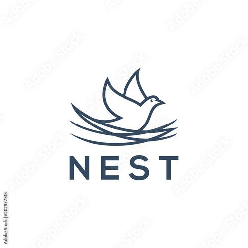 Fototapeta nest logo template vector illustration  obraz
