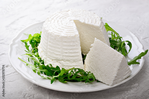 Ricotta cheese with arugula on plaster background