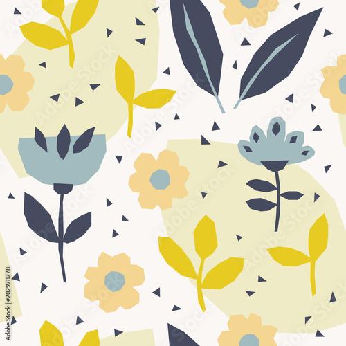 wzór z kwiatów i liści w stylu skandynawskim