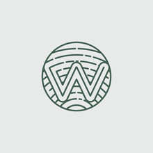 W Letter Logo Concept With Wood Texture Vector Illustratior Download