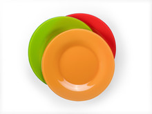 Colored Plates Stack Top View ...