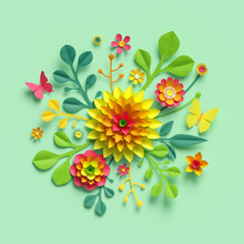 3d Render, Craft Paper Flowers, Easter Spring Floral Bouquet, Yellow Dahlia, Botanical Arrangement, Bright Candy Colors, Nature Clip Art Isolated On Mint Green Background, Decorative Embellishment