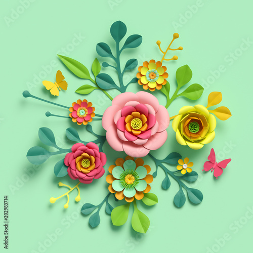 3d Render Craft Paper Flowers Mother S Day Floral Bouquet Yellow