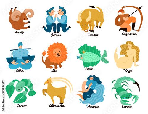 Zodiac Signs Set Fototapete