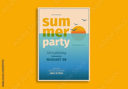 Summer Party Flyer Layout With Sunset Illustration Buy This Stock - Buy flyer templates