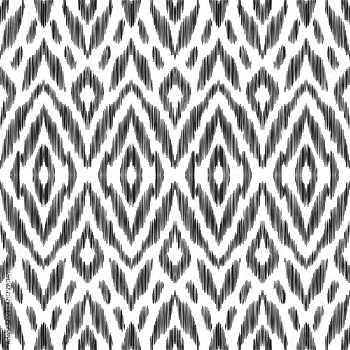 In de dag Boho Stijl Ikat seamless pattern. Surface design for print, fabric, wallpaper, gift wrap, texture. Tribal vector illustration. Black and white background. Boho, ethnic style.