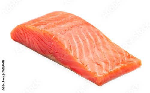 sinlge piece of smoked salmon steak isolated on white background Canvas