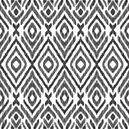 La pose en embrasure Style Boho Ikat seamless pattern. Surface design for print, fabric, wallpaper, gift wrap, texture. Tribal vector illustration. Black and white background. Boho, ethnic style.