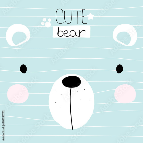 Cute little bear face with lettering. Childish print. Vector hand drawn illustration.