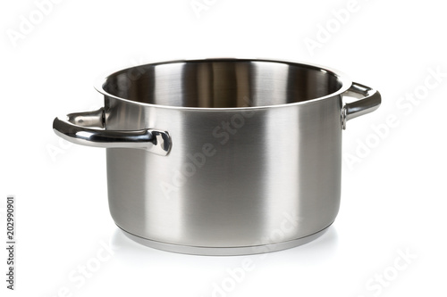 Open stainless steel cooking pot over white