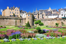 The Walls Of The Ancient Town And The Gardens In Vannes. Brittany Northern France.