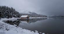 An Amazing Reflection Off Maligne Lake In Fall - Jasper National Park - Alberta - Canada