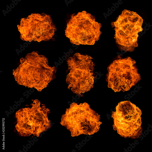 Fire balls textures collection on black background