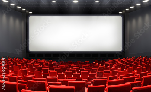 Papiers peints Secheresse Movie Theater With Blank Screen And Red Seats - Cinema