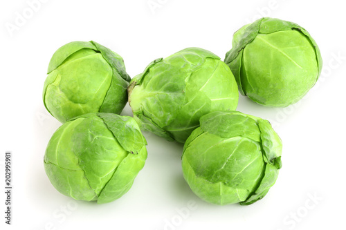 Papiers peints Bruxelles Brussels sprouts isolated on white background closeup