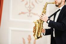 Jazzman Musical Artist Playing Saxophone