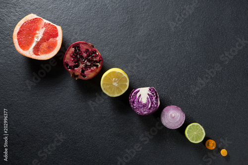 Fotografie, Obraz  Overhead view of fruits and vegetables arranged