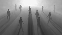 People Walking In Fog. 3d Render