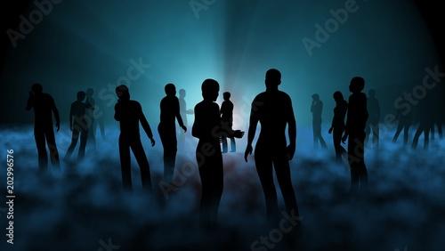 Photo People standing in blue fog. 3d render