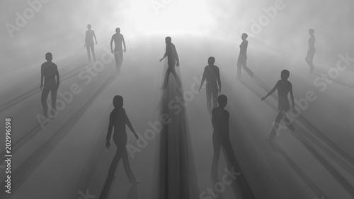 Photo People walking in fog. 3d render