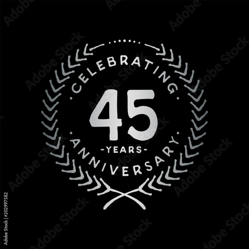 Photographie  45 years design template. 45th vector and illustration.