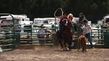 Ultra-slow Motion Shot Of A Cowgirl Roping A Calf At A Rodeo