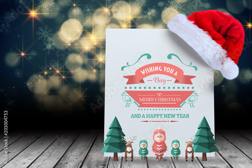 Merry christmas message against santa hat on poster – kaufen Sie ...