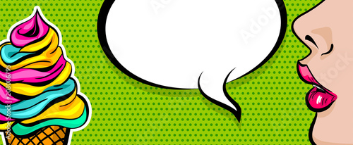 Spoed Fotobehang Pop Art Sweet colored poster empty speech bubble design. Summer kitsch dessert party advertise. Profile face beautiful woman pop art style. Wow shocked face vintage girl ice cream cone.