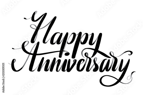 hand drawn vector lettering happy anniversary phrase by hand isolated vector illustration handwritten