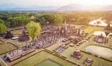 Sukhothai Historical Park In Sukhothai Province Northern Of Thailand.