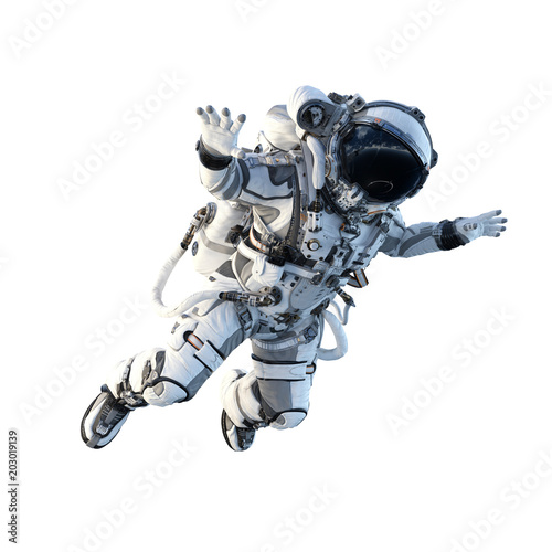 Photo  Astronaut on white. Mixed media
