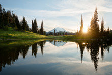 Sunrise At Tipsoo Lake With Mt. Rainier