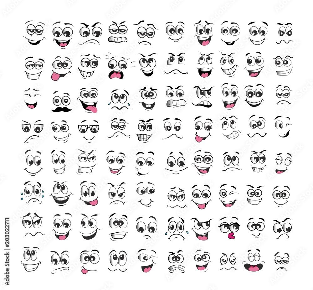 Fototapeta face expression set cartoon. emotion vector illustration