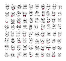Face Expression Set Cartoon. Emotion Vector Illustration