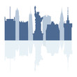 Silhouettes of Statue of Liberty, famous buildings and modern buildings in the USA.