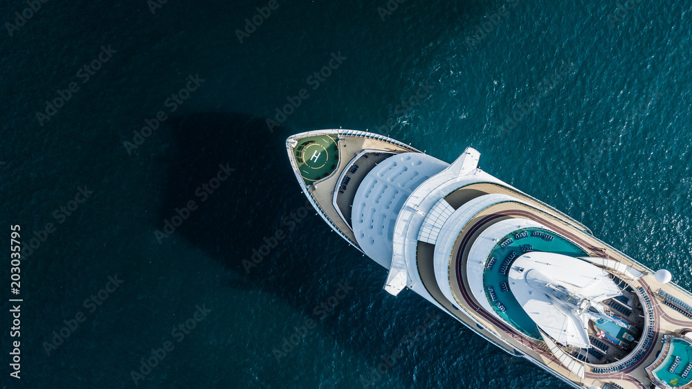 Fototapety, obrazy: Aerial view large cruise ship at sea, Passenger cruise ship vessel sailing across the Gulf of Thailand.
