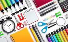 School And Office Supplies Vec...
