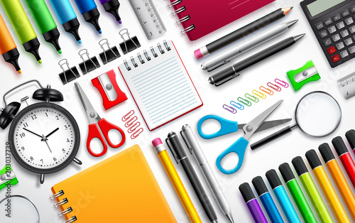 Fotografia  School and office supplies vector set background with colorful school items and stationery collection in white background