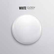 Blank White Glossy Badge Or Bu...